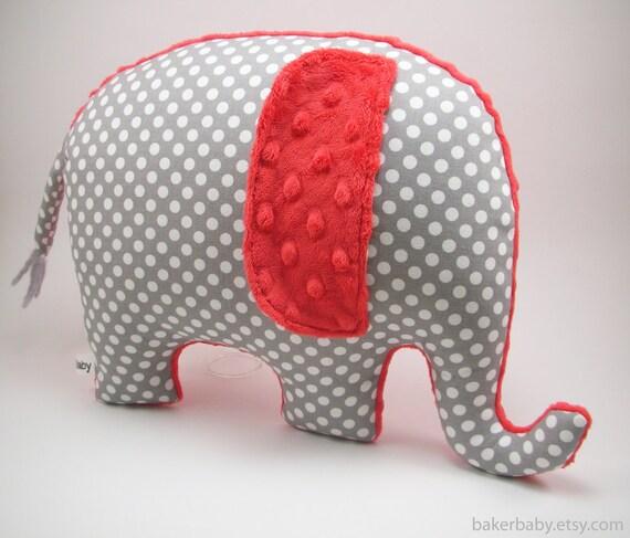 Items Similar To Elephant Pillow Modern Nursery Decor Red And Gray Gray Polka Dot On Etsy