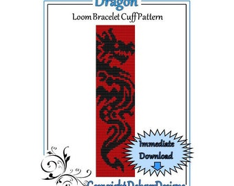 Bead Pattern Loom(Bracelet Cuff)-Dragon
