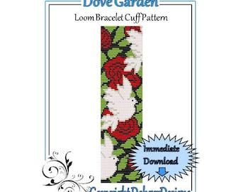 Bead Pattern Loom(Bracelet Cuff)-Dove Garden