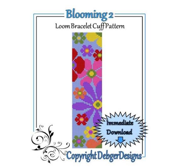 Bead Pattern Loom(Bracelet Cuff)-Blooming 2