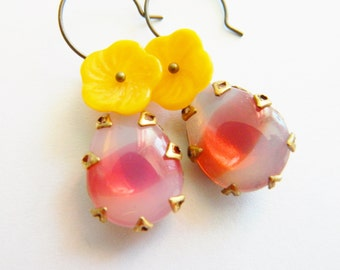Pink Earrings, Pink and Yellow Earrings, Yellow Flower Earrings, Pink Opal, Summer Earrings, Retro Earrings, Floral Earrings