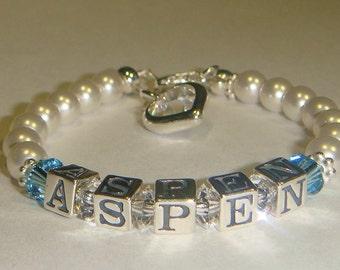 Girls Bracelet - Birthstones - Swarovski Pearls & Crystals - Sterling Silver