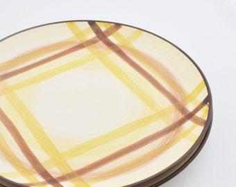 Vintage Dinner Plate - Star Stone - Brown Plaid - 8009 -