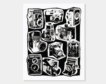 Vintage Cameras Art Print Screenprint 8X10
