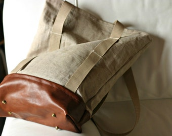 Handmade LINEN and LEATHER Bag - Italian leather - Tote BAG - Linen tote bag