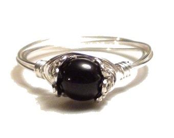 Onyx Silver Wire  Ring, Black Onyx Gemstone Silver Wire  RIng, Silver Wire Wrapped Ring,Custom Sized, Wire Wrapped Onyx, Black Stone Ring