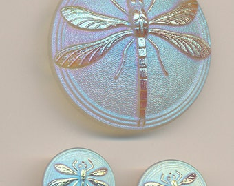 Czech Glass Dragonfly Button - Lot of 3 - Make your Own Pendant and Earrings