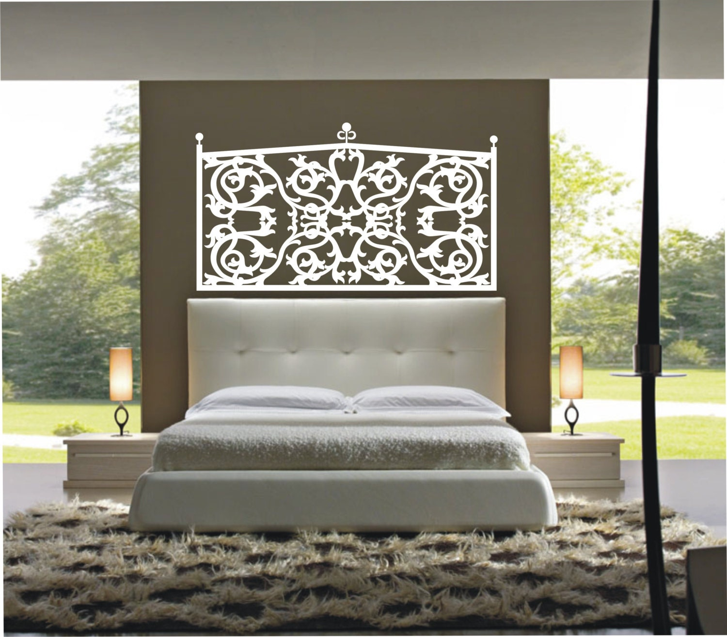 Vinyl decal wall sticker wall tattoo mural art headboard for Mural headboard