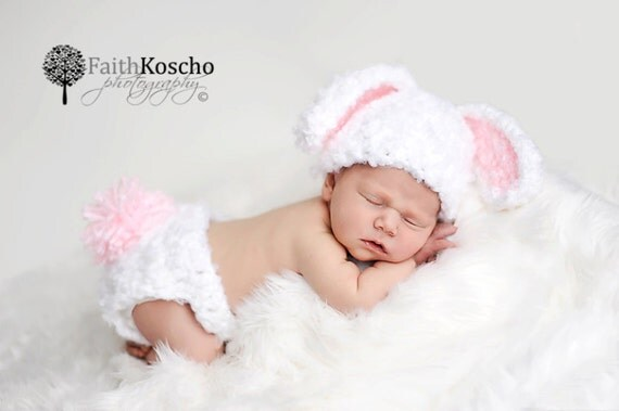 Free Crochet Pattern For Bunny Ears And Diaper Cover : PDF CROCHET PATTERN Bunny Hat and Diaper Cover Baby by ...