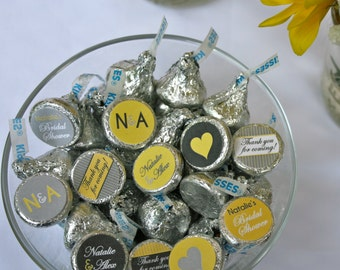 Wedding or Bridal Shower Chocolate Kiss Labels- Yellow and Grey for Candy Buffet or Favors- print your own