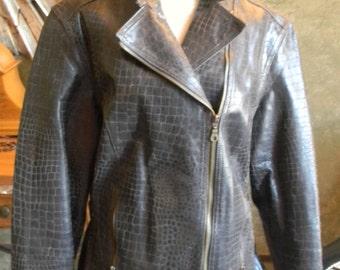 Ladies  Vintage Bomber Jacket . Rustic aged Leather coat.Vintage. Brown Leather Motorcycle jacket