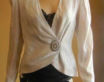 Lilli Rubin Soft as Silk Couture VINTAGE Designer Blazer.Ladies Easter Jacket.1946 Dress Coat.Giant Crystal Tear drop Applique