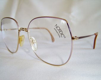 Vintage '80'S Nordic International Eyeglasses, Purple/Brown/Gold Combo. Color, W. Germany, New Old Stock