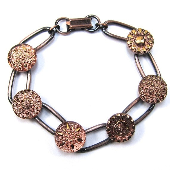 Copper Czech Glass Button Bracelet
