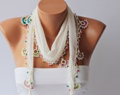Turkish oya scarf , lace scarf ,summer scarf ,necklace scarf ,ivory