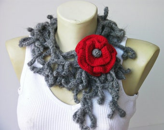 crochet lariat scarf ,long lariat scarf with removable flower brooch