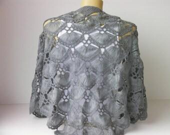 Crochet shawl scarf , bridesmaid gift ,Wedding gift ,Bridal shawl crocheted shrug ,capelet, wrap,grey