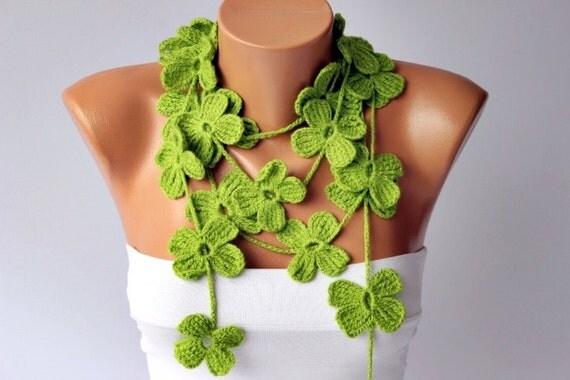 crochet lariat ,flower scarf