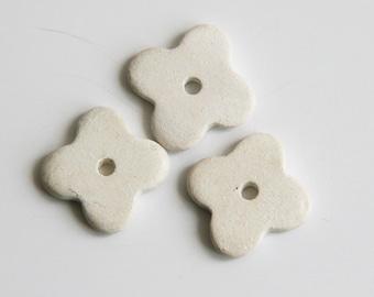 6 White Flower Beads, White Ceramic Flower Beads, Ceramic Flowers, Four Petals Beads C 10 177