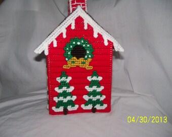 Christmas Holiday Birdhouse Tissue Box Cover