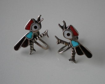 Vintage Zuni Bird Earrings Sterling Turquoise Coral Tortoise Shell Mother Of Pearl