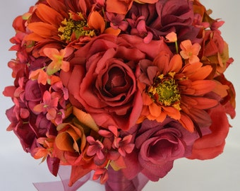 "17pcs Wedding Bridal Bouquet Silk Flower Decoration Package APPLE RED ORANGE ""Lily of Angeles"""
