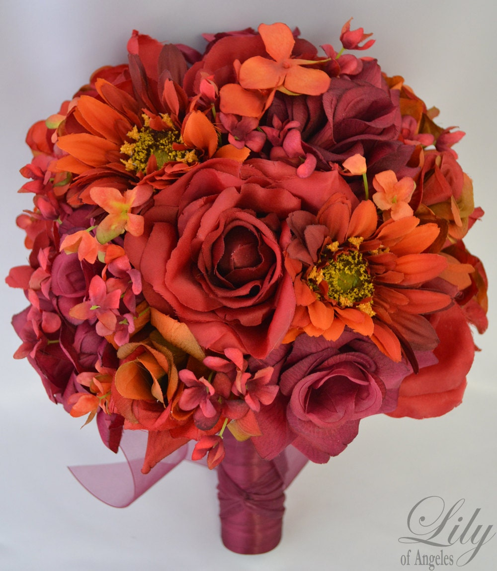 Wedding Flower Packages Cheap: 17pcs Wedding Bridal Bouquet Silk Flower Decoration Package