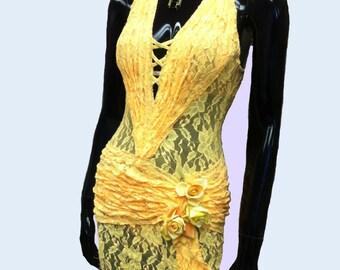 Yellow Lace Dance Latin  Dress