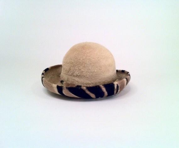 RESERVED vintage Fedora, Women's Bucket Hat Tiger Striping, Deadstock Never Worn