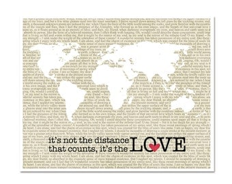 It's the Love that Counts - Long Distance Love Digital Typography Art Poster Print