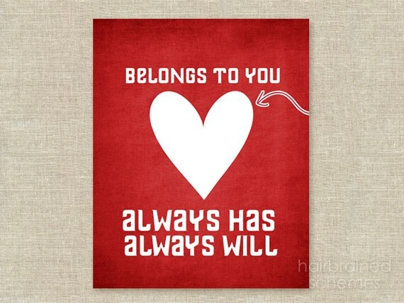 Love Typographic Poster Love Digital Art Print - Love - Digital Art My Heart Belongs to You Heart Print Wedding Gift Anniversary Love
