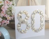 80th Birthday Card with Shells, Beach Treasures, Sequins and Diamante