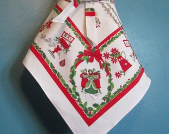 Vintage Christmas Carol Apron Repurposed Linen