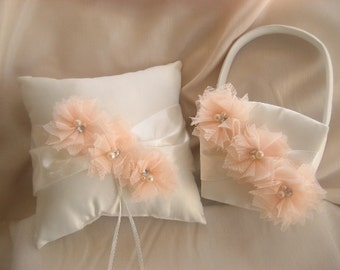 Flower Girl Basket Set, Ivory Ring Bearer Pillow,  Vintage CUSTOM COLORS  too Wedding Pillow
