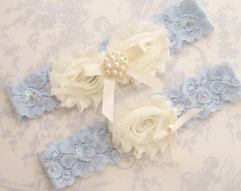 Blue Garter- Wedding Garter Set Blue Lace Toss Garter included  Ivory with Rhinestones and Pearls  Custom Wedding colors