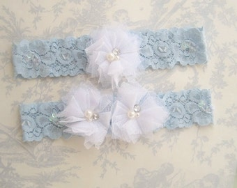 Blue Garter Lace Wedding Garter,  Set with Toss Garter Tulle flowers and embellishments