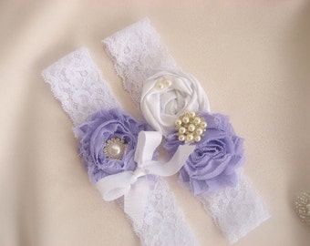 Wedding Garter,Toss Garter, Wedding Garter  Lavender and White with Rhinestones and Pearls Purple Garter