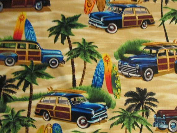 Woody Classic Surfboards Tropical Cotton Fabric Fq Or Custom