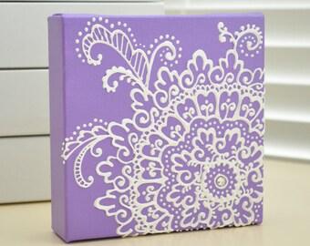 Custom Order- White on Purple Lavender Floral - Henna Style Original Painting - 6x6 Canvas