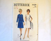 Vintage Sewing Pattern 1960s Mad Men Era Womens 2 Piece A Line Dress Jacket Misses Short Sleeve Dress Size 16 Butterick 4428