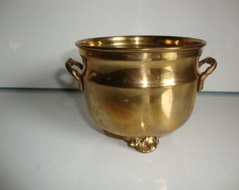 Vintage Brass Planter,  Brass Bowl, Footed Brass Planter, Desk Organizer