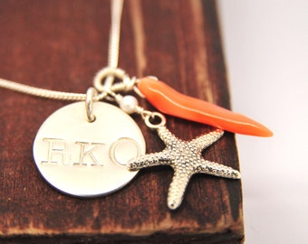 Dainty Starfish and Coral Initial Necklace/Mothers Day Gift Ideas/Bridesmaid Gift Ideas