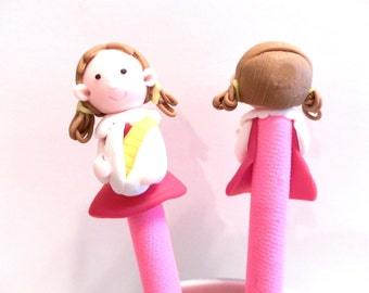 New Cute Polymer Fimo Clay Girl with Corn Pen