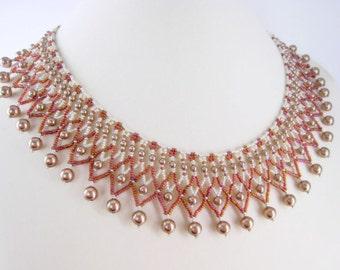 Beaded Collar Necklace - Beadwork Jewelry - Netted Necklace - Bronze Pearl Necklace - Handmade Jewelry - Netting Collar