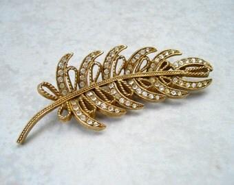 Vintage HAR Rhinestone Brooch Gold Tone Feather Bows