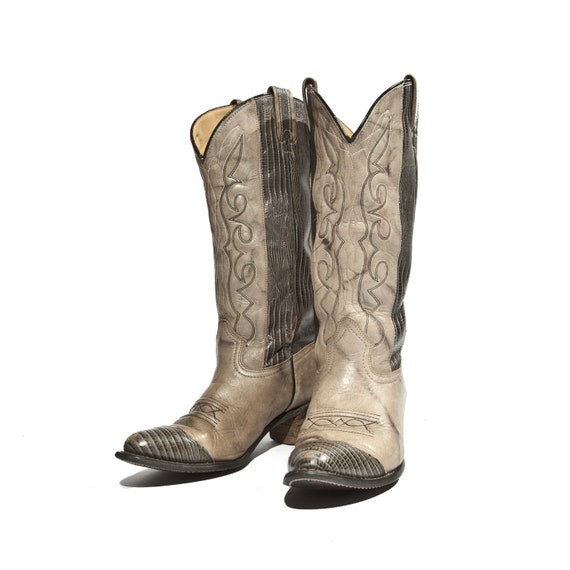 Vintage Cowboy Boots by Texas Boots Company in Grey with