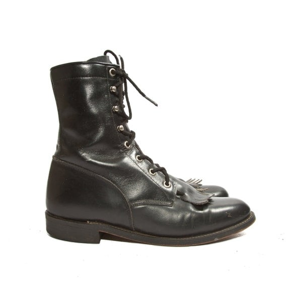 s justin roper lace up boots jet black lacers with