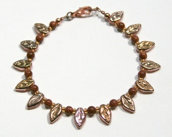 Autumn Leaves Brown Goldstone and Copper Bracelet