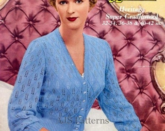 PDF Knitting Pattern for a Lacy Knit Retro 1950's Lace Cardigan or Bed Jacket - Instant Download