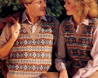 PDF Knitting Pattern for His and Hers Fair Isle - Nordic Waistcoats - Instant Download